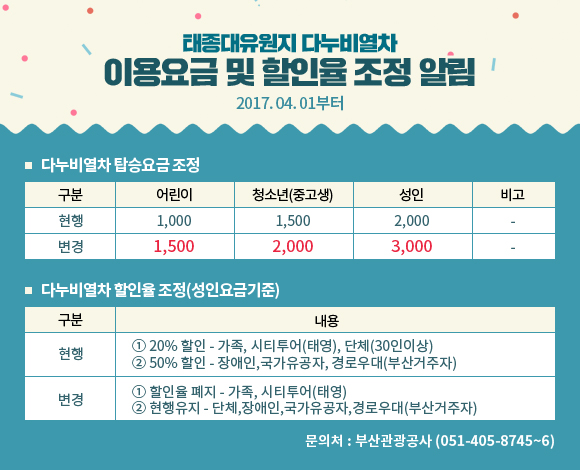 태종대유원지 다누비열차 『이용요금 및 할인율』조정 알림(2017. 04. 01부터) 이미지1번째
