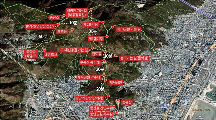 구봉산 봉수대의 등산코스 : 꽃마을 - 엄광산정상 - 백병원 갈림길 - 전도등 - 구봉산 - 체육공원 약수터 - 등산로 입구까지 이어져 있음(소요시간은 2~5시간)